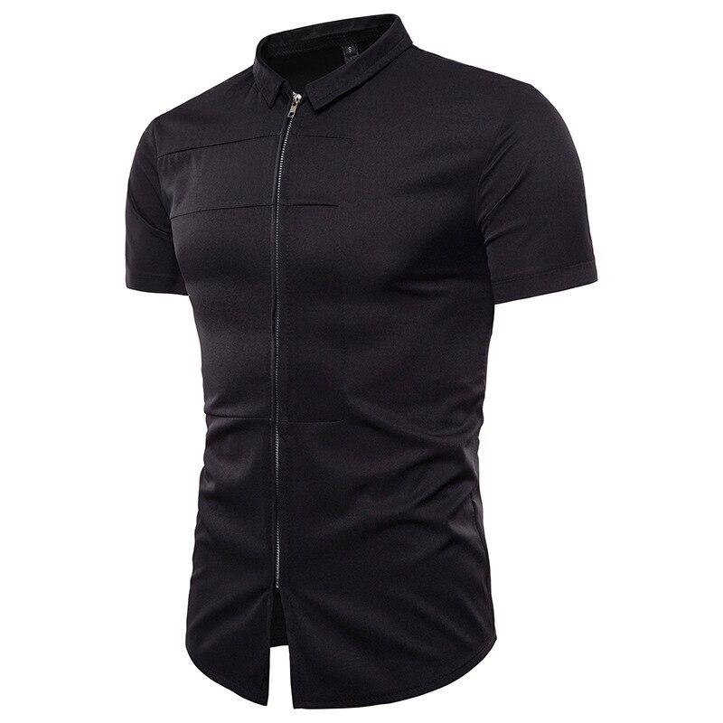 summer fashion stylish solid-color large size trim zipper design men's short-sleeved shirt