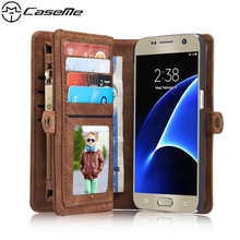 For Samsung Galaxy S7 G930A G9300 5.1 Retro Quality Leather Case with Zipper Wallet Card Multifunction Magnetic Phone Back Cover