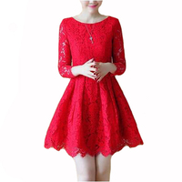 New Fall Fashion Temperament Red Long Sleeve Lace A Line Dress