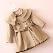 Hurave 2017 Winter New Ruffles Collar Fashion Girl Outfits Double-Breasted Belt Girls Coats Jackets for 2-7 Years B17L3