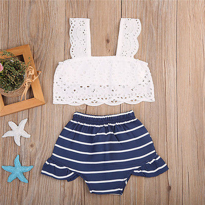Cute Newborn Kids Baby Girls Outfits Clothes Sleeveless Hollow Out Lace T-shirt Tops Blouse+Striped Bottom Shorts Clothes Sets