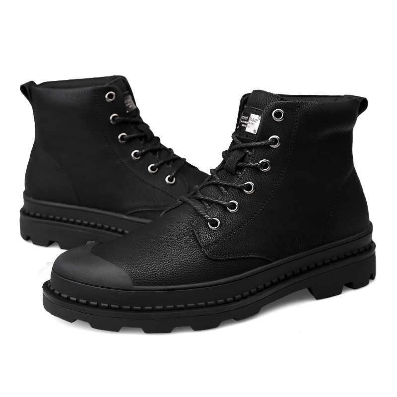 Vancat Высокое качество Натуральная кожа мужские ботинки Зимние непромокаемые ботильоны сапоги для верховой езды уличные рабочие зимние сапоги мужская обувь