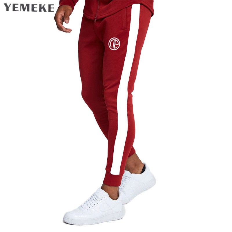 Yemeke Gyms Males Joggers Informal Males Stitching Sweatpants Joggers Pantalon Homme Trousers Sporting Clothes Bodybuilding Pants
