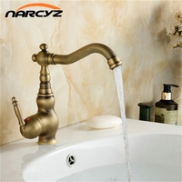 Cheap Antique Brass Swivel Basin Sink Mixer Tap Crane Kitchen Faucet XR GZ 8102