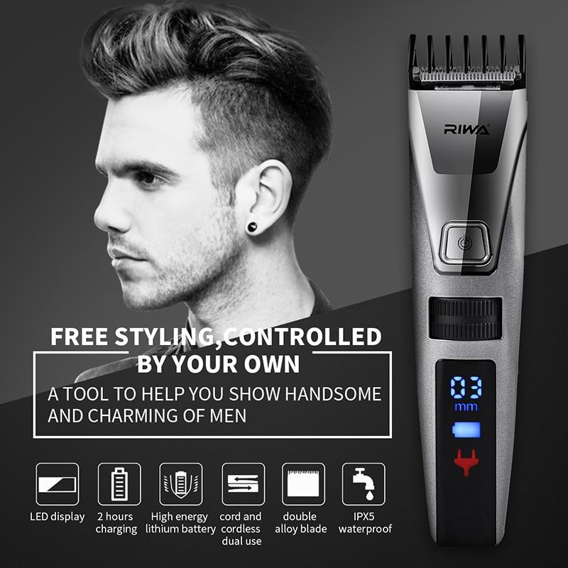 Riwa pantalla LED eléctrico profesional de los hombres de pelo cortador recargable corte de pelo de la máquina de corte Clipper para adultos y niños