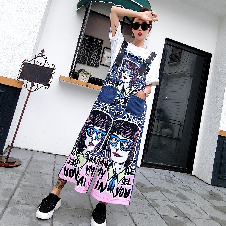 Street fashion brand 2018 summer new fashion street hip-hop loose large size bib ladies cowboy bib pants jumpsuit female tide