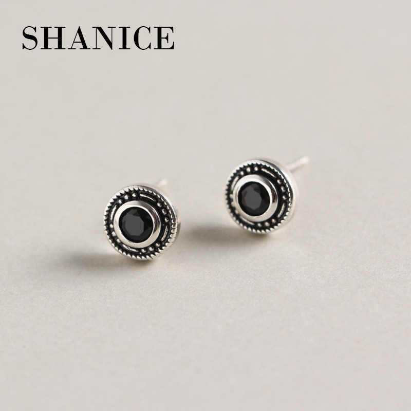 SHANICE Cool Mens Womens Earring Ear Stud 925 silver CZ Crystal Plug Retro Round Women stud earring for lovers' luxury jewelry