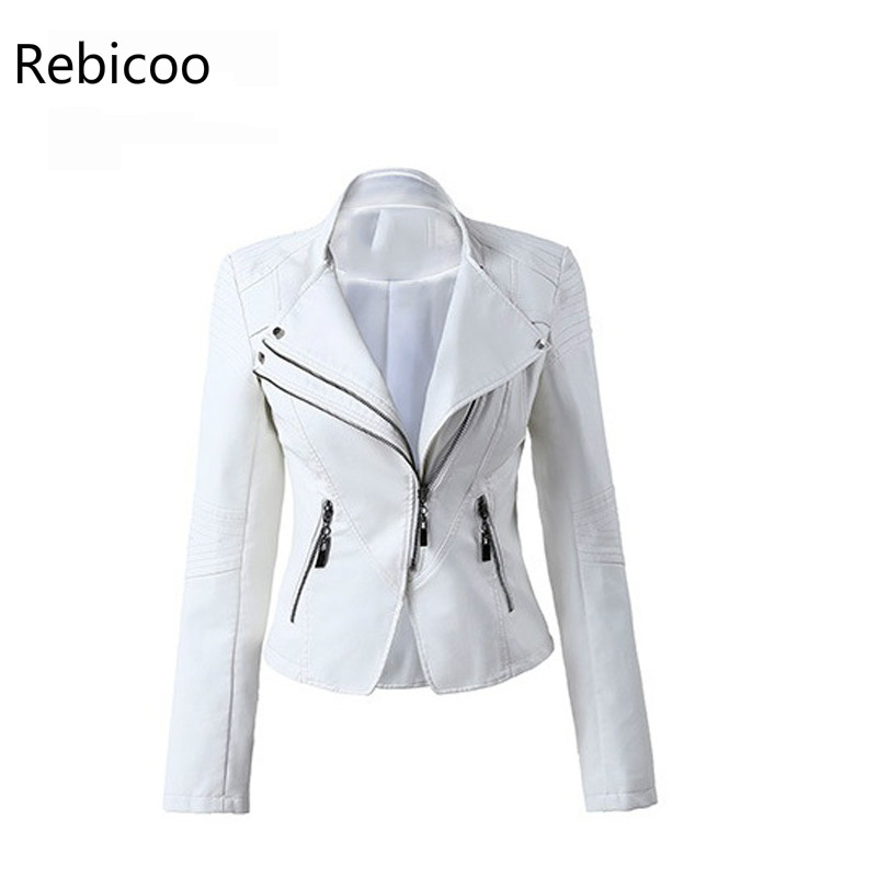 2018 Brand Pu   Leather   Jackets Female White Red Black   Leather   Coat Motorcycle Cool Jackets Jaqueta Jaquetas De Couro Femininas