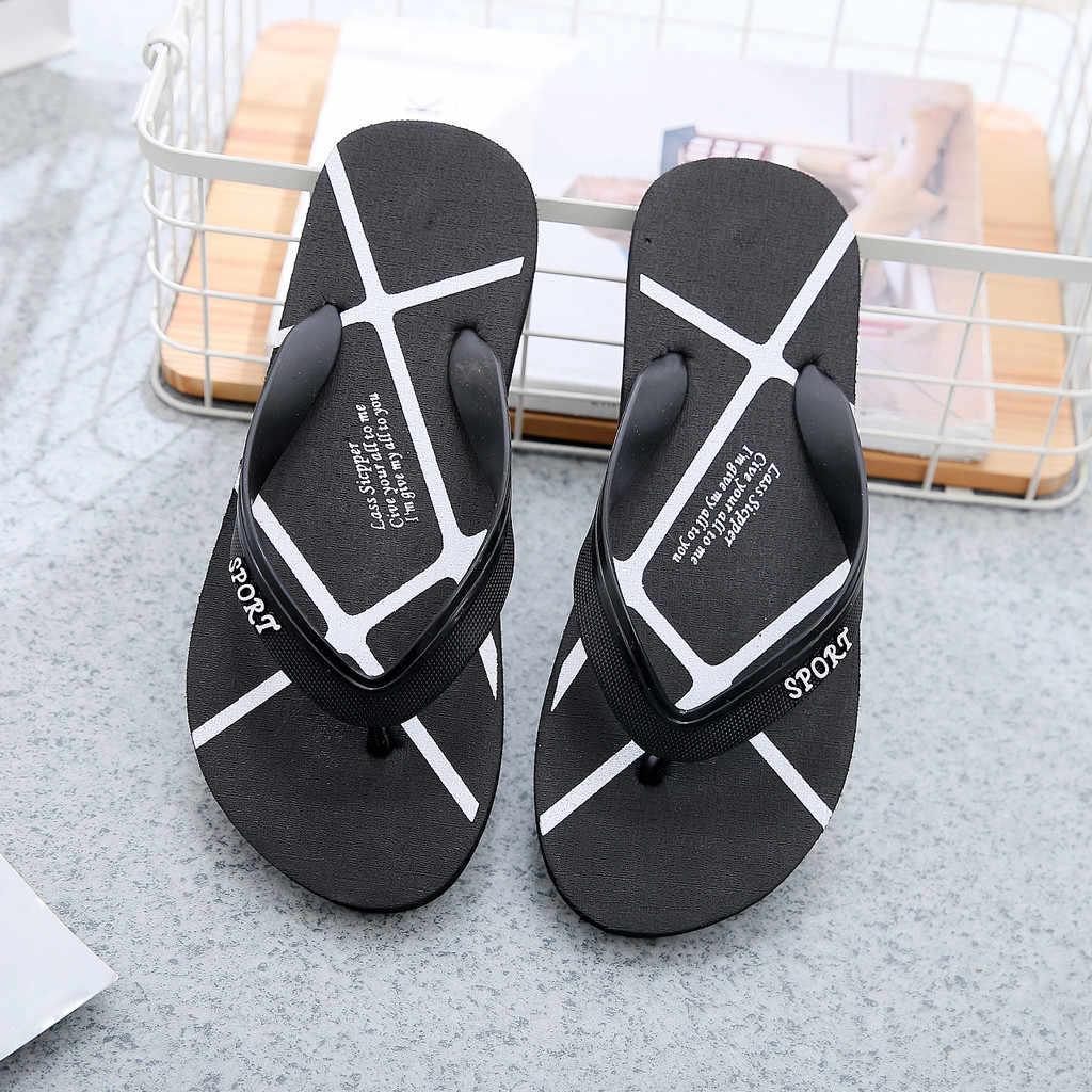 Sagace Fashion Wanita Sandal Datar dengan Sepatu Musim Panas Sandal Jepit Sepatu Pria Sepatu Pantai Slip Datar Bawah pin Sandal