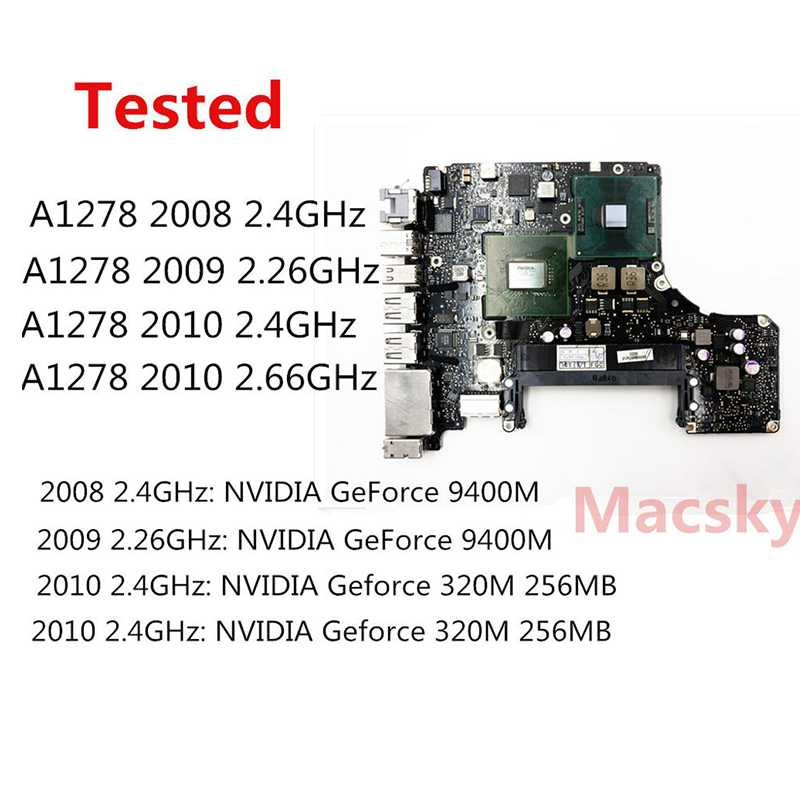 Tested A1278 Motherboard for Macbook Pro 13 2008 2009 2010 Logic Board Intel Core 2 Duo