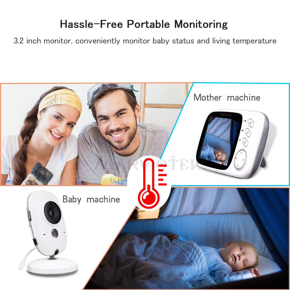 Image 3 - 3.2 inch Wireless Baby Monitor Video Color VB603 High Resolution Baby Nanny Security Camera Night Vision Temperature Monitoring-in Baby Monitors from Security & Protection