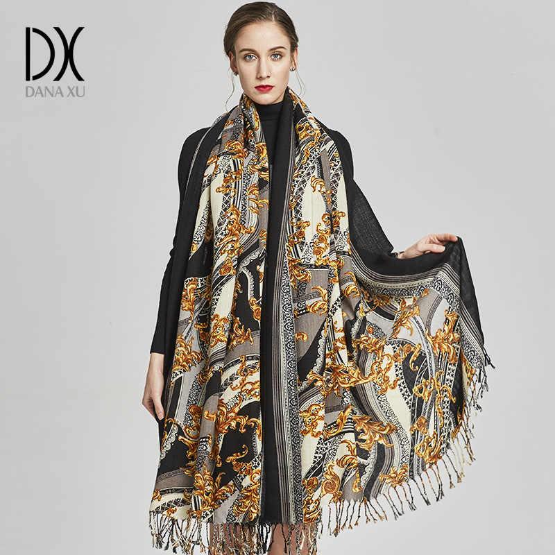 DANA XU 여성 겨울 패션 스카프 격자 무늬 두꺼운 따뜻한 판쵸 캐시미어 스웨터 Pashmina 스카프와 Stoles 대형 담요 포장
