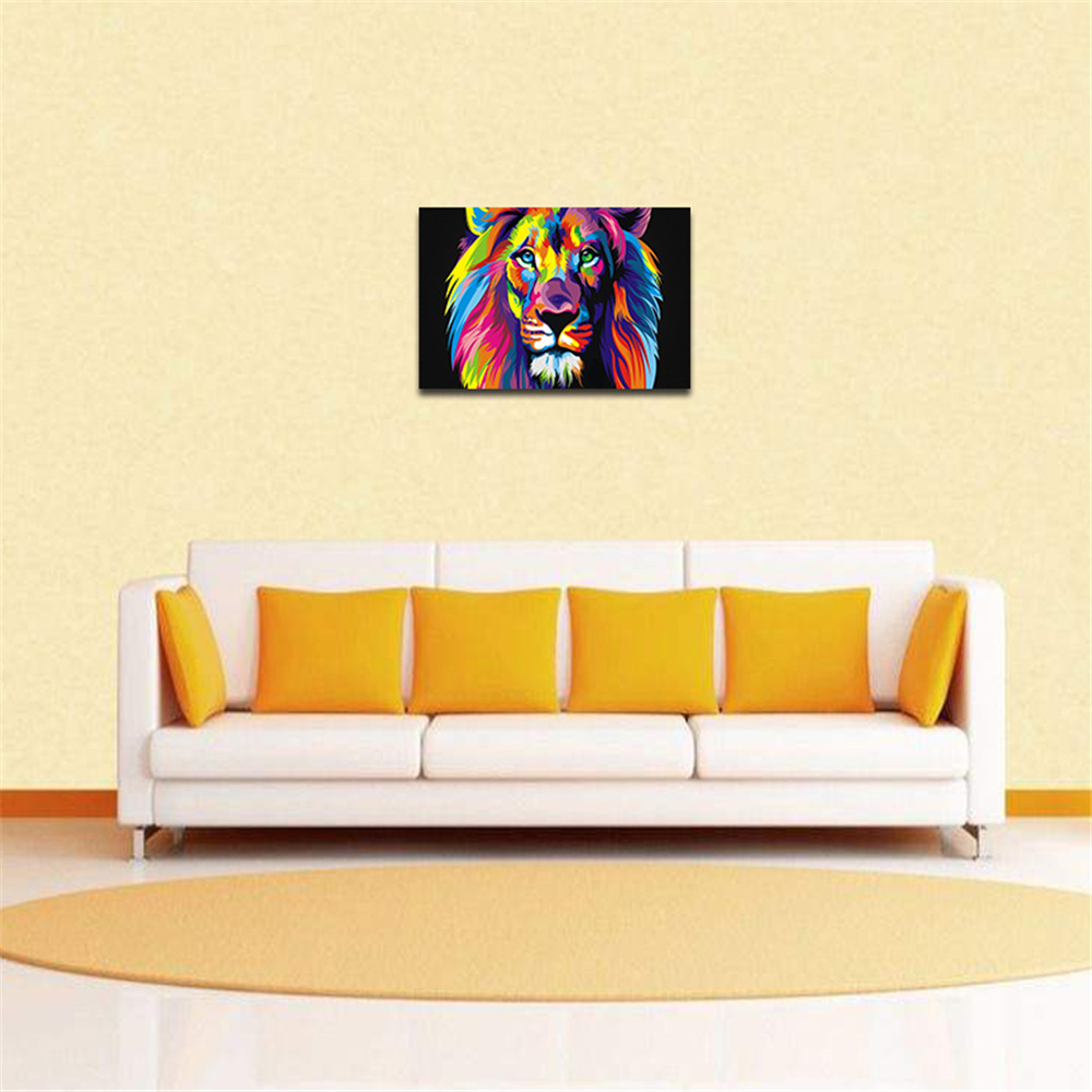 On Canvas Huge Wall Art Unframed Room Decor Modern Colorful Lion Oil ...
