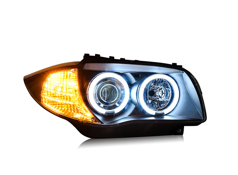 VLAND Factory car Head lamp for BMW E87 LED headlight 120i 130i Head lamp 2004-2011 with LED Angel eyes H7 Xenon lamp free shipping vland factory headlamp for volkswagen gol led headlight h7 xenon lamp with angel eyes led bar lamp plug and play