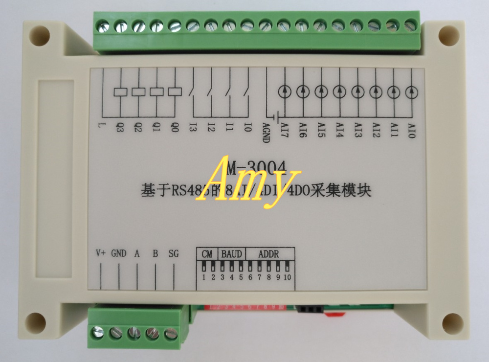 RS485 data acquisition module 8AI/4DI/4DO Modbus RTUcommunication ...