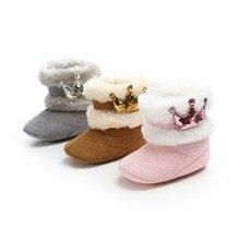 0-18M Cute Newborn Infant Baby Girls Winter Warm Crown Fur Mid-Calf Length Slip-On Furry Boots