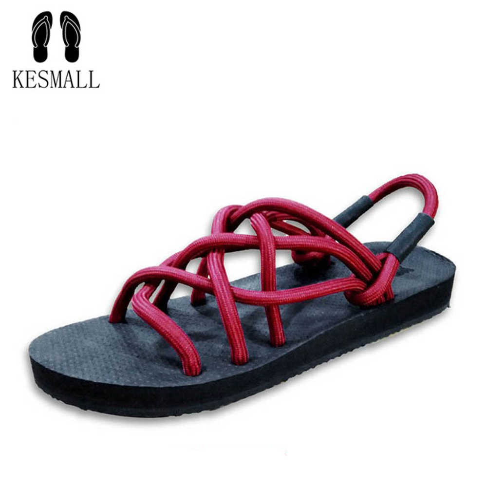 1a43e9211fcc5 KESMALL Summer Beach Shoes For Men Cross-Strap Sandals Roma Leisure Breathable  Flip Flops Toe