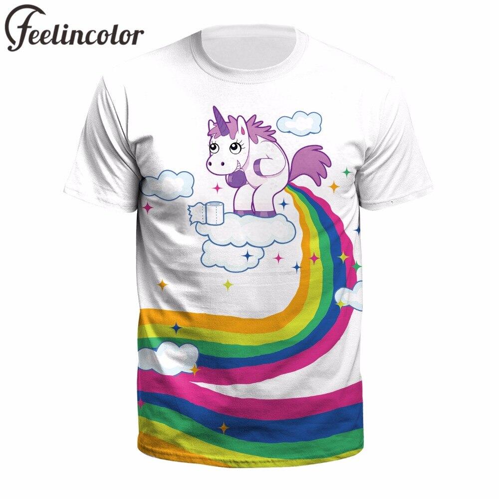Feelincolor unicorn rainbow tshirt men Fitness Casual Men/Women 3D Printing   T  -  Shirt   Summer Tops   t     shirt   men harajuku Streetwear