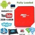 M8s Android totalmente Carregado Caixa de TV M8S 5.1.1 Plus Set Top caixa Amlogic S905 2G/16G Wifi Bluetooth4.0 APLICATIVOS Pré-instalado PK T95N A95X