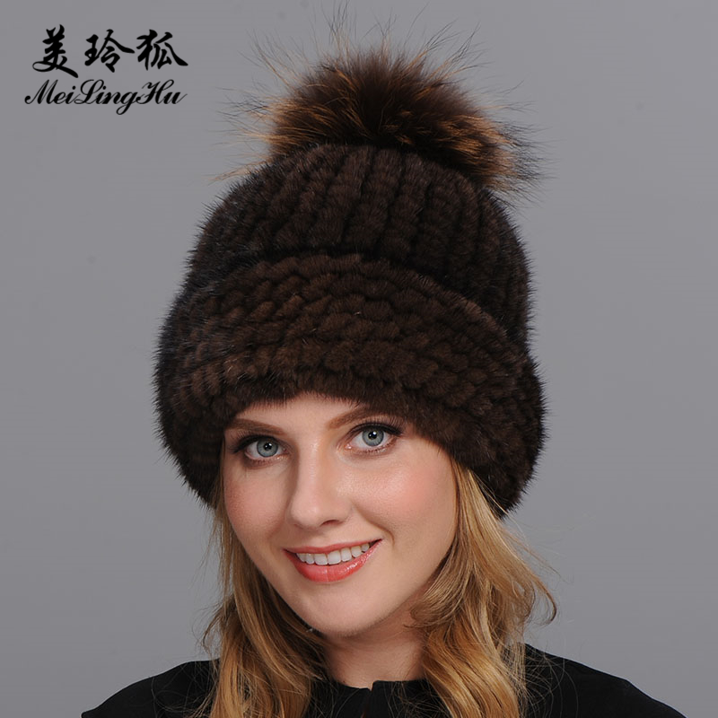 Real Mink and Raccoon Fur Ball Cap pom poms Winter Hat for Women Girl 's Hat Knitted   Beanies   Cap Brand New Thick Female Cap
