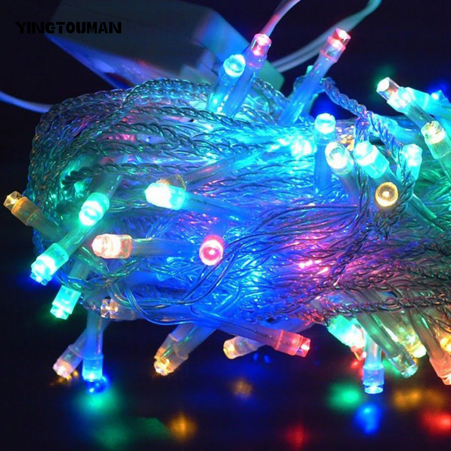 YINGTOUMANT Waterproof Bling LED Lamp String Light Christmas Holiday Wedding Party Decoration Lighting 10m 100LED