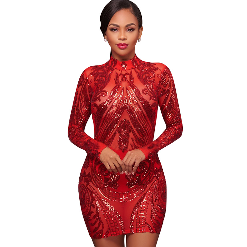 54279a35dfe Sexy Sheer Mesh Red Long Sleeve Sequin Dress Women Geometric Paillette  Sparkly Slim Party Bodycon Mini