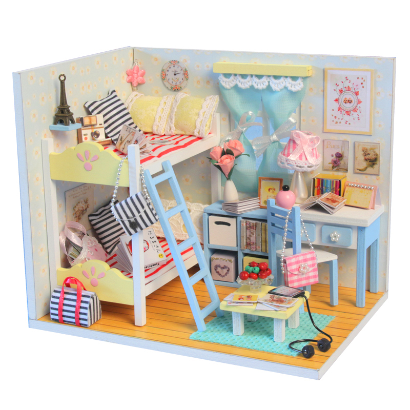 Diy Furniture Room Mini Box Dollhouse Doll House Miniature: DIY DollHouse Miniature Toy Doll House With Furniture