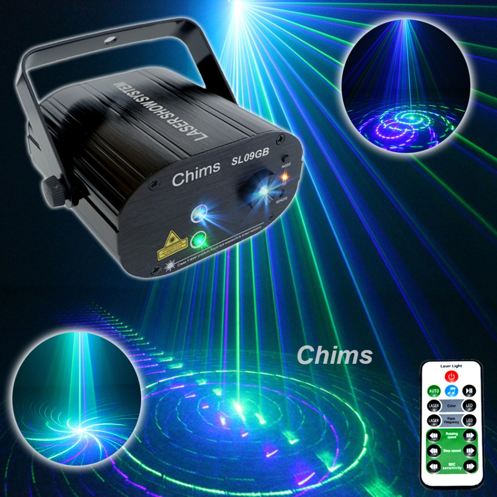 Chims DJ Laser Lighting 3 Lens 9 Pattern Club GB Laser Blue LED Stage Home Party