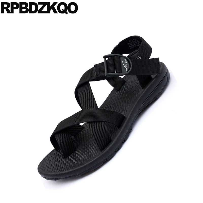 39a5679a3db77b ... Flat Strap Casual Sport Toe Loop Japanese Men Gladiator Sandals Summer  Canvas Roman Designer Black Shoes ...