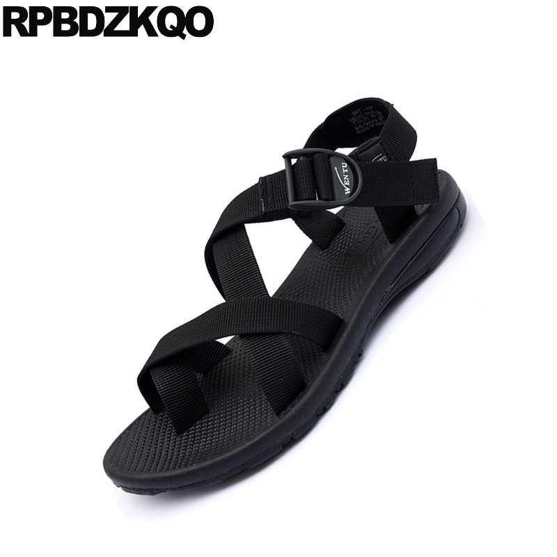 cb49b3b8efee44 ... Flat Strap Casual Sport Toe Loop Japanese Men Gladiator Sandals Summer  Canvas Roman Designer Black Shoes ...