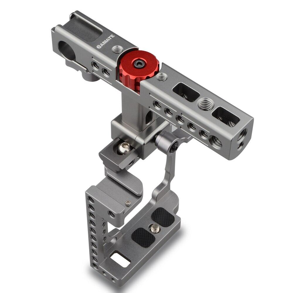 bilder für CAMVATE Handkamera Käfig mit QR Käse Griff für Sony A6500, A6000, A6300 (Titan, Rot Knopf) C1596