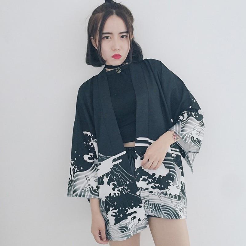 Vintage Autumn Dragon Waves Printed Chiffon Sun Protection Cardigan Kimono sun   shirt   women clothing outerwear   Blouse     Shirts