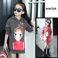 teenage girls clothes kids Winter plus velvet sweatshirt child cartoon with a hood top girl medium-long 2016 pullover sweaters