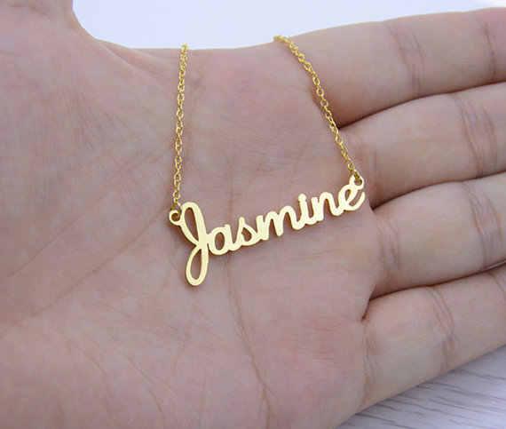 d0137fa41e78 Collar personalizado joyería cualquier nombre personalizado collares  mujeres hombres plata oro rosa gargantilla grabado hecho a mano dama de  honor ...