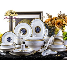 60pieces Guci European dinnerware set  Jingdezhen high-grade bone china bowl dish western Phnom Penh ceramics home gifts