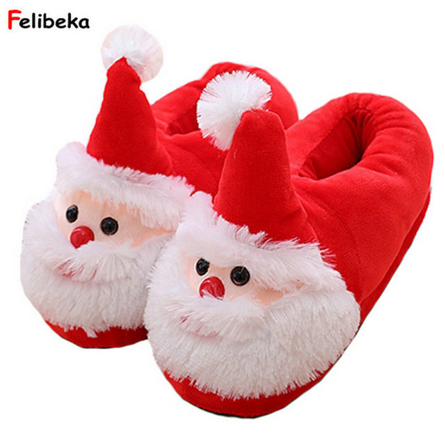 28306b202f8074 Winter Cartoon Indoor Warm Plush Santa Slippers Women Men Children s  Christmas Style Home Slipper Fit Christmas gifts