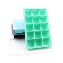 15 отверстий пищевой силиконовый ледяной куб форма для виски лоток для льда с крышкой квадратной формы DIY Форма для льда кухонные аксессуары 3 цвета