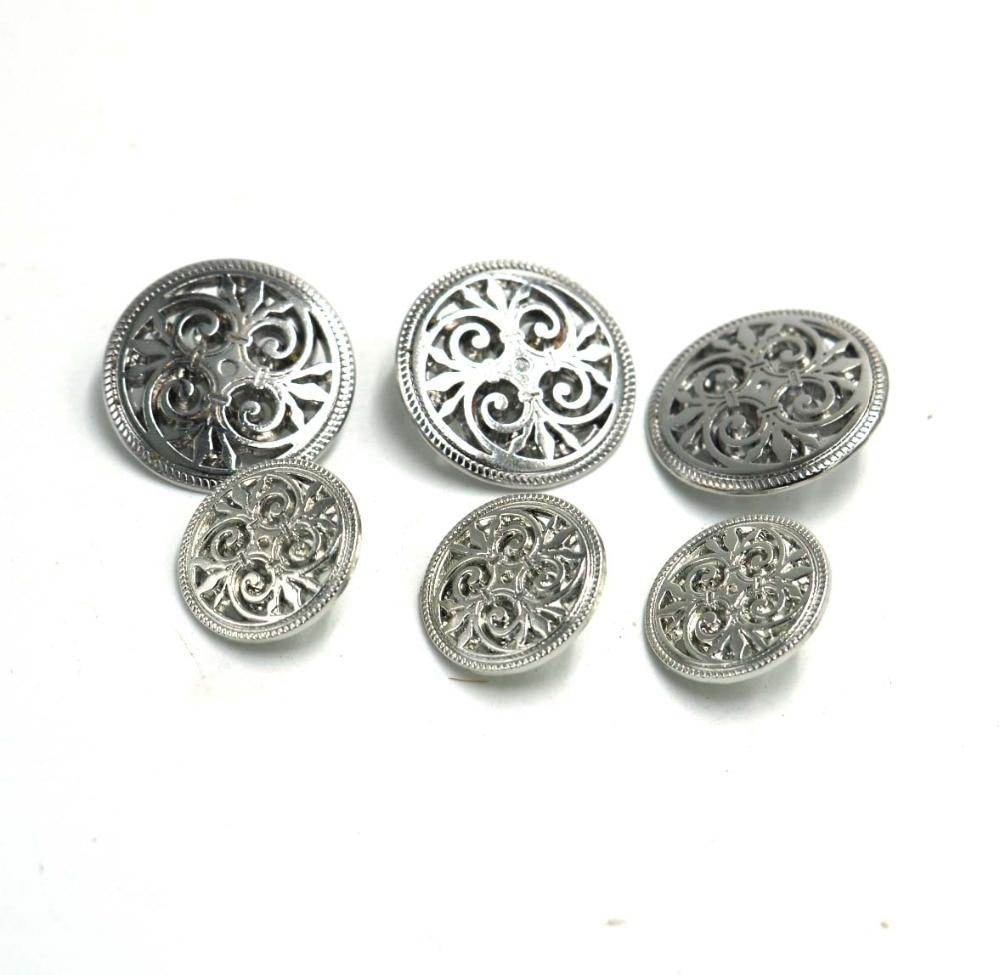 Flower Metal Silver Shank Sewing Buttons DIY Sewing Jacket Coat Jean 20pcs