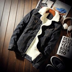 Image 5 - Idopy męska kurtka dżinsowa z futrzanym podszewką gruby, ciepły płaszcz z polaru Jean odzież wierzchnia dla mężczyzn