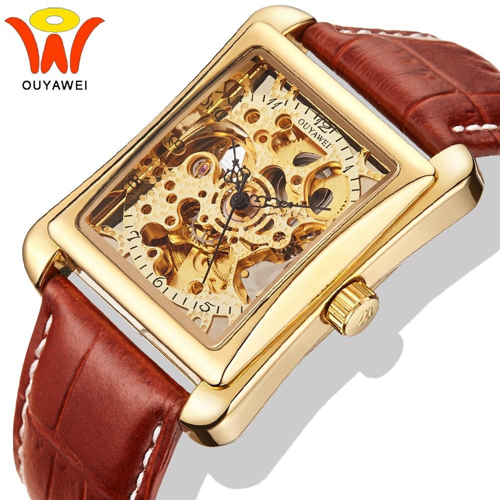 Ouyawei Gold Skeleton Automatic Watch Men Luxury Mechanical Self Wind Leather Rectangle Wrist Watches Reloj Automatico