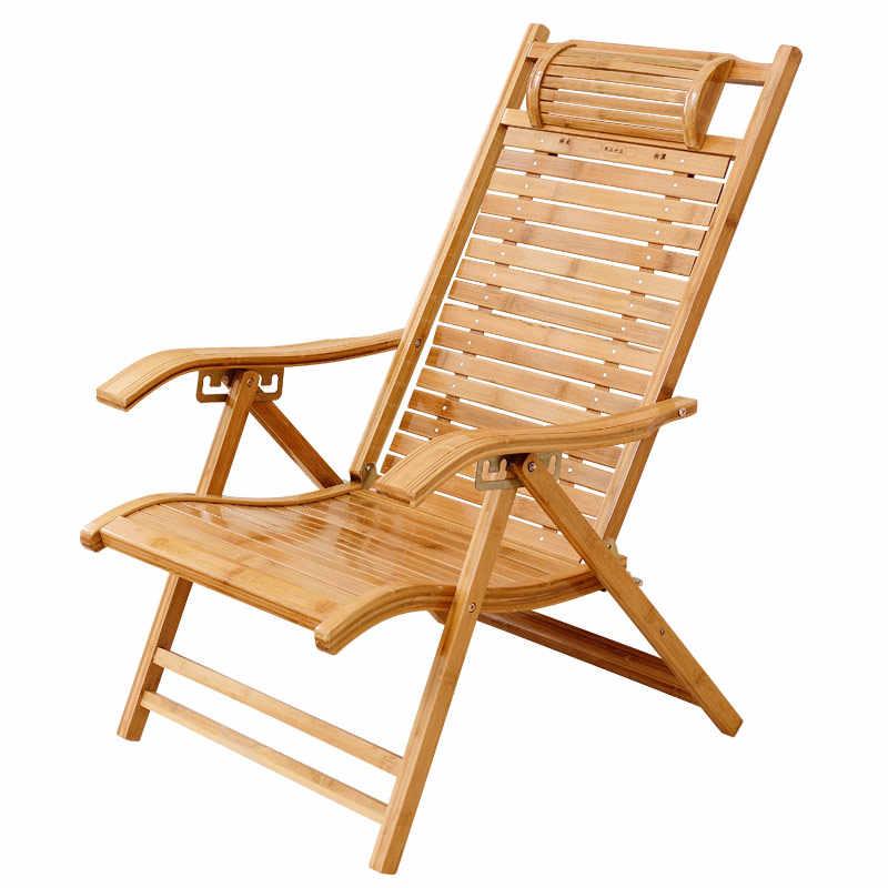 Modern Foldadble Bamboo Garden Chair Recliner Reclining Back