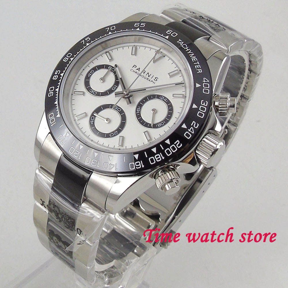 39mm PARNIS Quartz men s watch Full Chronograph luminous stop watch sapphire glass black bezel solid