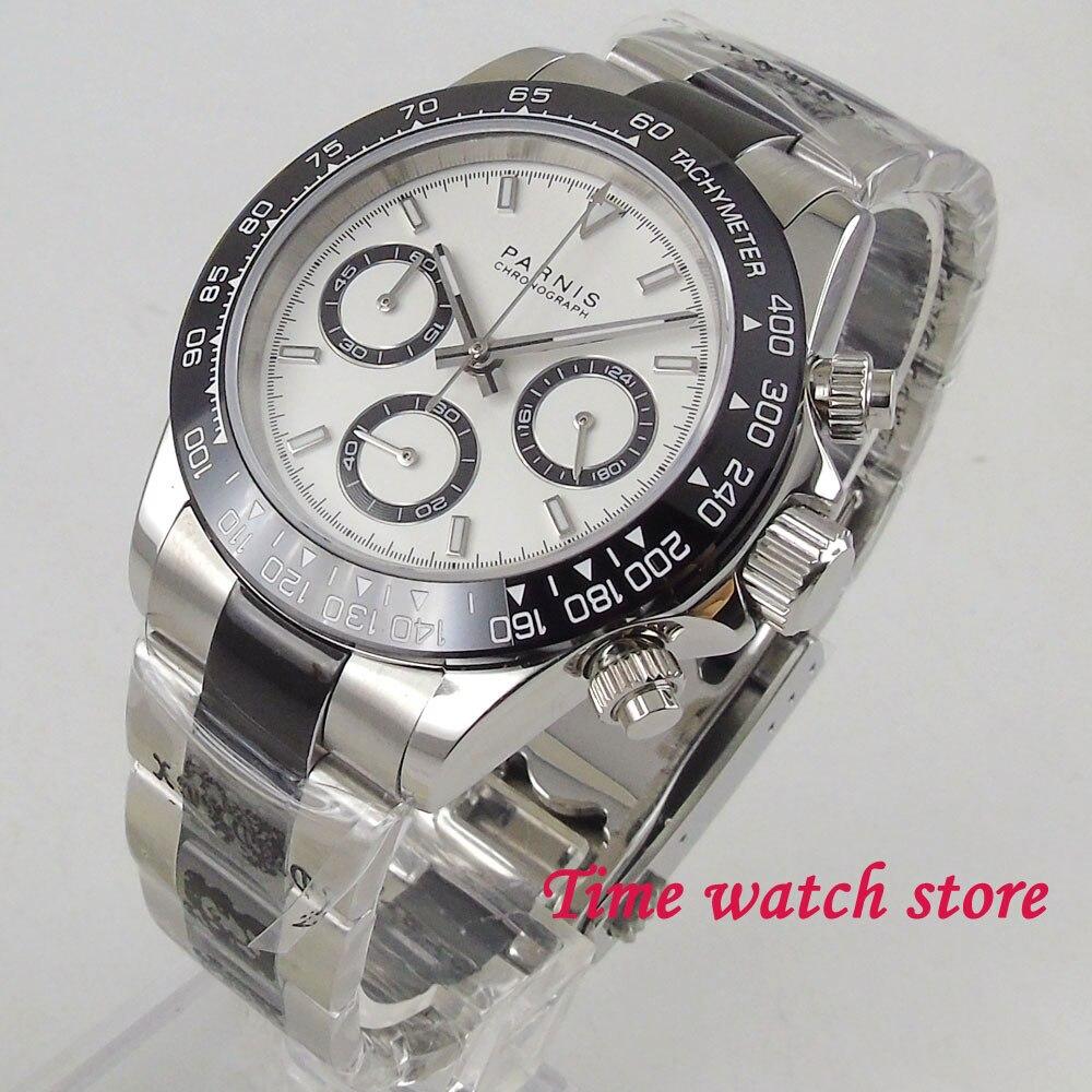39mm PARNIS Quartz montre pour hommes chronographe complet lumineux chronomètre saphir verre noir lunette solide bracelet 2023