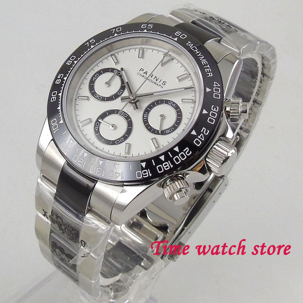39mm PARNIS kwarcowy zegarek męski wodoodporna stal nierdzewna bransoletka 24 godzin Chronograph czarny biały dial zegarek świetlny 2023 w Zegarki kwarcowe od Zegarki na  Grupa 1