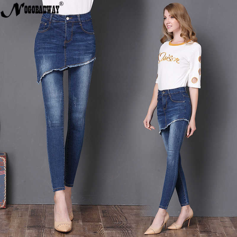 High Waist Jeans Woman Skinny Denim Pants Ethnic Style Design Fake Two Sets Ladies Slim Pencil Pants Trousers 2019 Autumn Winter