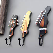 European Retro 3 PCS/Set Guitar Heads Music Home Resin Clothes Hat Hanger Hook Wall Mounted For Watch Keys Sundries Three Colors(China)