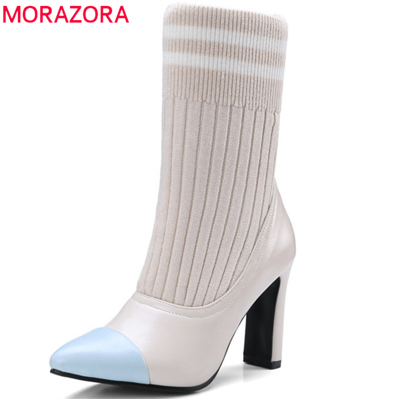 MORAZORA 2018 hot sale ankle boots for women pointed toe autumn winter boots mixed colors Stretch socks boots fashion shoes MORAZORA 2018 hot sale ankle boots for women pointed toe autumn winter boots mixed colors Stretch socks boots fashion shoes