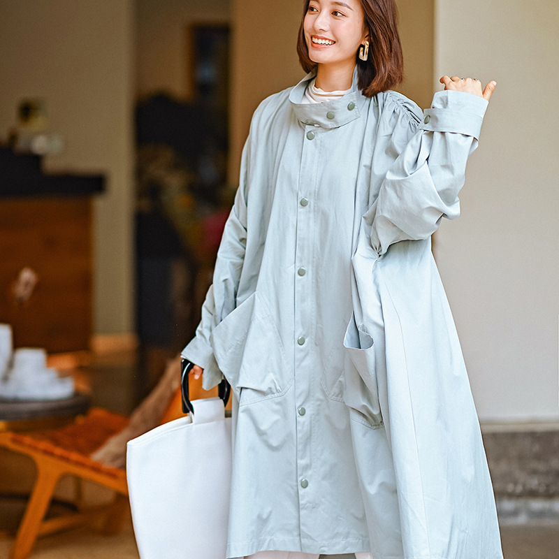 Original New Stand Collar Female Fashion   Trench   Coat Casual Solid Color Fresh Large Size Windbreaker All Match Long Female Coat