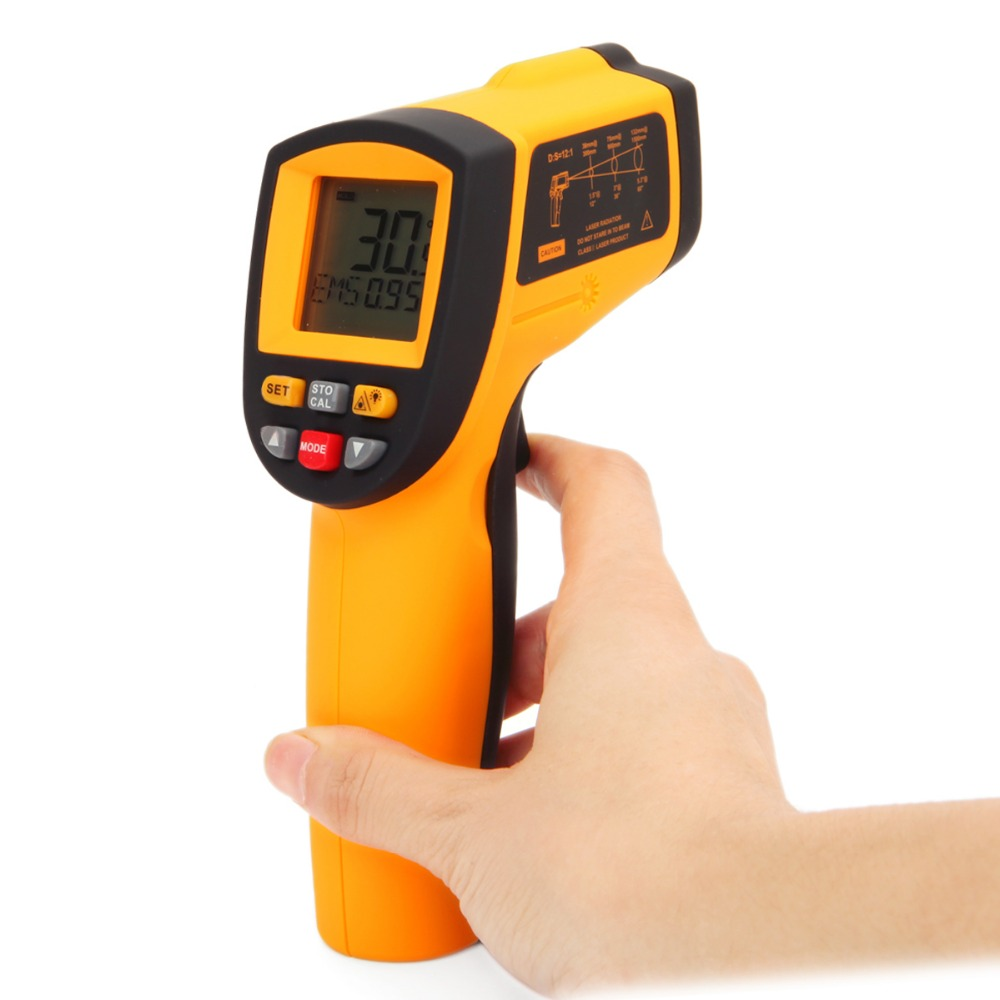 ФОТО GM900 Non-Contact 12:1 LCD display Temperature Meter Gun IR Infrared Digital Thermometer-50~900C (-58~1652F) 0.1~1.00 adjustment