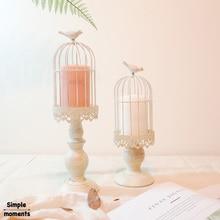 Простые моменты креативная полая подвесная клетка для птиц подсвечник подставка для свечей Фонарь Свадебные украшения Винтажные подсвечники